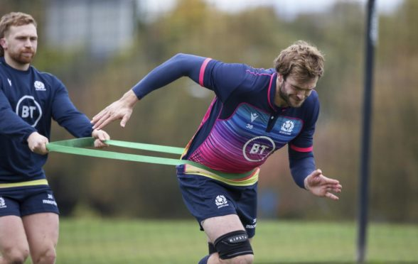 Richie Gray in training with Scotland at Oriam.