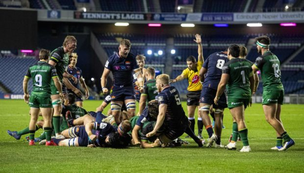Mike Willemse scores Edinburgh's third try against Connacht at Murrayfield.
