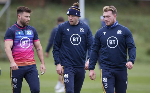 Ali Price (left) with Finn Russell and Stuart Hogg (right) at Scotland training this week.