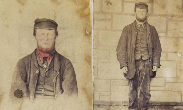 Murderer George Chalmers pictured with his ginger beard and ruddy complexion coloured-in to jog the memory of witnesses.