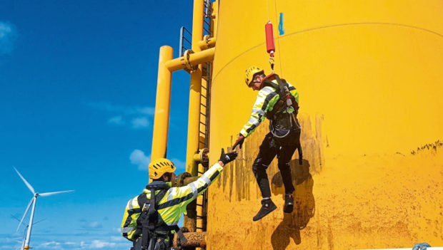 Personnel using the Pict Offshore Get Up Safe system