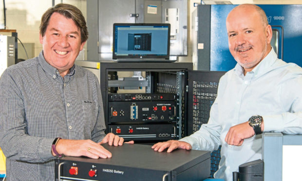 Genista Energy managing director Graham Hall and Albacom chief executive Jim Davidson.