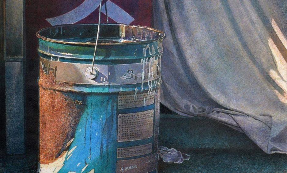Detail of Angus's  prize-winning work Paint Splash.
