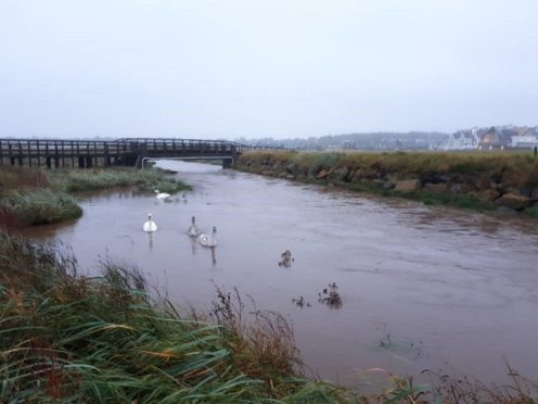 Carnoustie's flooded Championship golf course. Pic: Craig Boath
