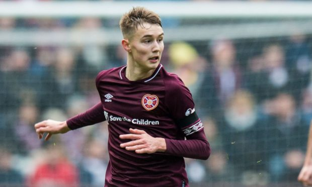 Harry Cochrane in action for Hearts.