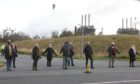 The protestors outside Mossmorran, near Cowdenbeath.