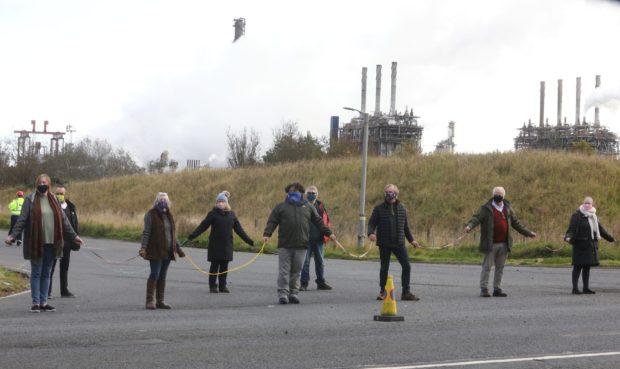 The protestors outside Mossmorran, near Cowdenbeath.