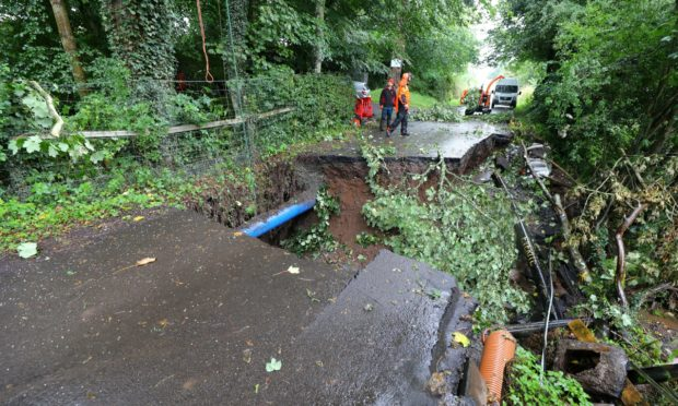 Damage to Station Road, Forgandenny.