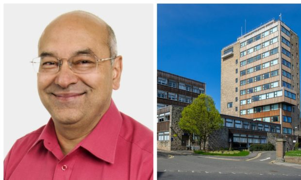 Dr Anil Mehta and right, Dundee University