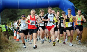 Start of the Aviemore half marathon at Badaguish, Glenmore. Picture by Gordon Lennox 17/10/2010.