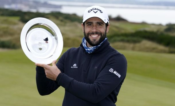 Spain's Adrian Otaegui poses with the trophy after winning The Scottish Championship at Fairmont St Andrews.