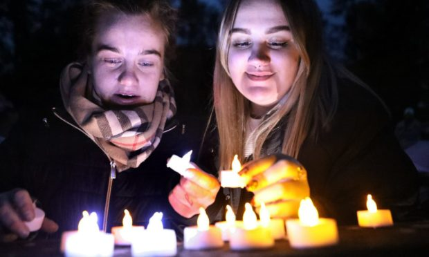 Baby Loss Awareness Week is marked at Birkhill Cemetery. Pictured is Jade Watt and Ellie De-Gernier.