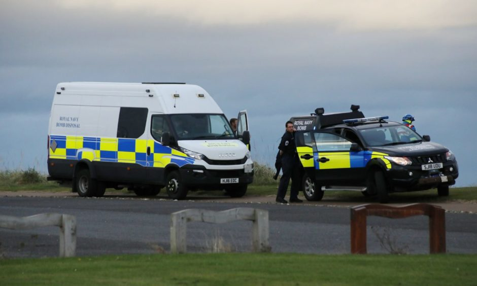 Police, an EOD team and the UK Coastguard were called to Carnoustie Beach.