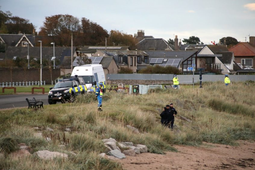 Carnoustie Beach was cordoned off.
