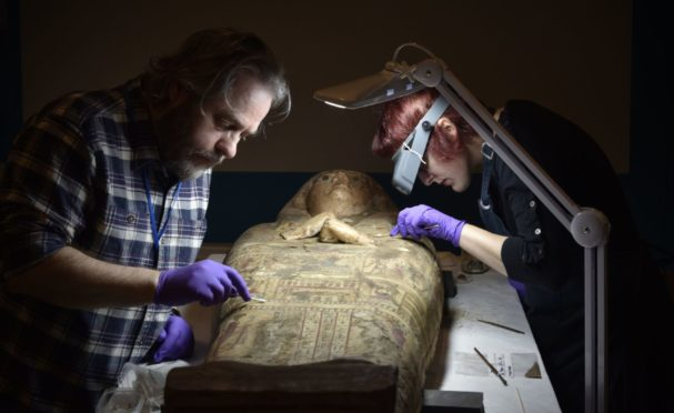 Conservation work on the mummy at Perth Museum and Art Gallery