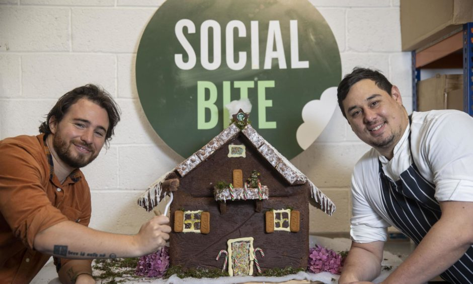 Josh Littlejohn and head chef of Social Bite central kitchen at the launch of the organisation's new brownie delivery service.