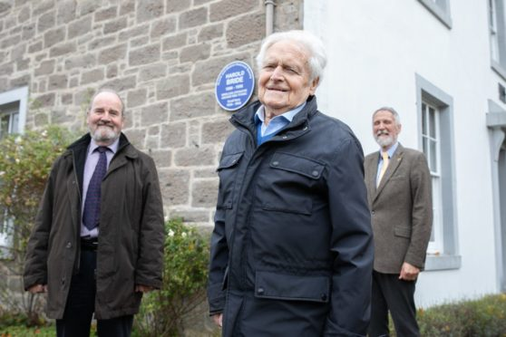 Mike Moir, George Stewart and Councillor Lewis Simpson. Picture: Kim Cessford.