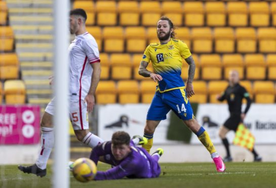 Stevie May scores his third goal.