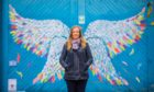 Emma Oram alongside the Truacanta selfie wings at the North Inch