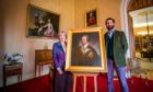 Lady Mansfield (left) and son William Murray, the Viscount Stormont alongside the portrait of Sir John Lindsay.