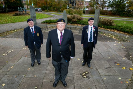 Cllr Mick Green (Centre), with Davie Archibald (right) and Ron Smith from the Glenrothes branch of the British Legion where the ceremony will now take place.