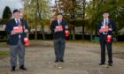 Glenrothes area Poppy Appeal collections organiser Ron Smith, (left) alongside fellow collectors Mick Green (centre) and Davie Archibald (right).
