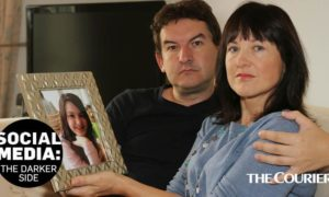 Craig and Ruth Moss, whose daughter Sophie Parkinson took her own life aged 13 after viewing suicide guides on social media.
