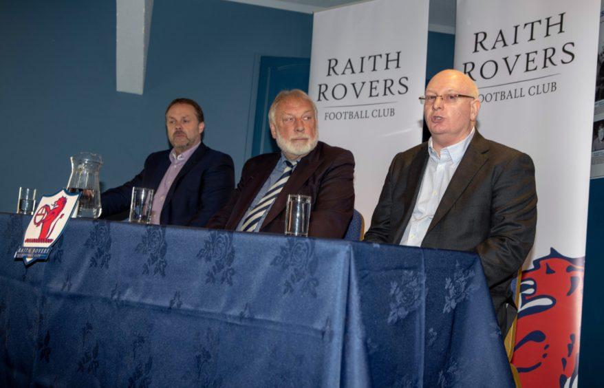 Raith No2 Paul Smith, board member Bill Clark and manager John McGlynn.