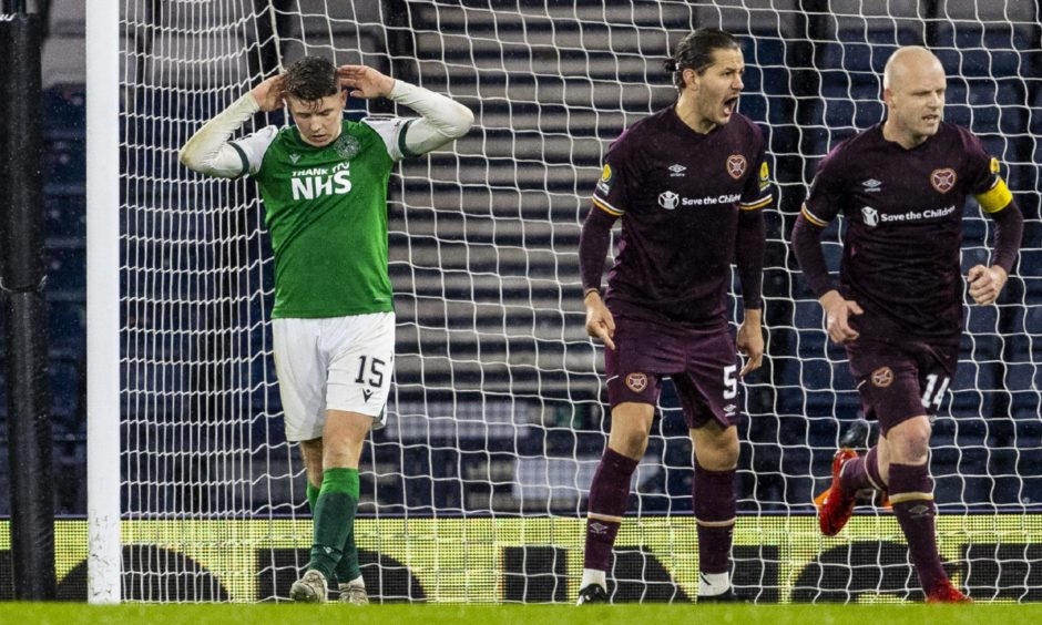 Kevin Nisbet misses penalty for Hibs during Scottish Cup semi-final against Hearts.