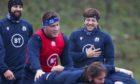 Hamish Watson enjoying the banter at Scotland training this week.
