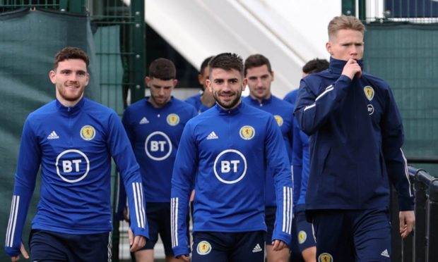 Scotland stars - led by Andy Robertson, Greg Taylor and Scott McTominay - train today ahead of Serbia clash.
