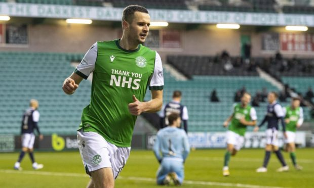 Hibs forward Jamie Murphy celebrates giving his side the lead against Dundee.