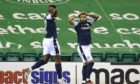 Dundee's Alex Jakubiak has a goal disallowed at Hibs.