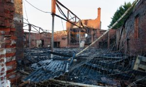 The charred shell of the old Pavilion bingo hall.