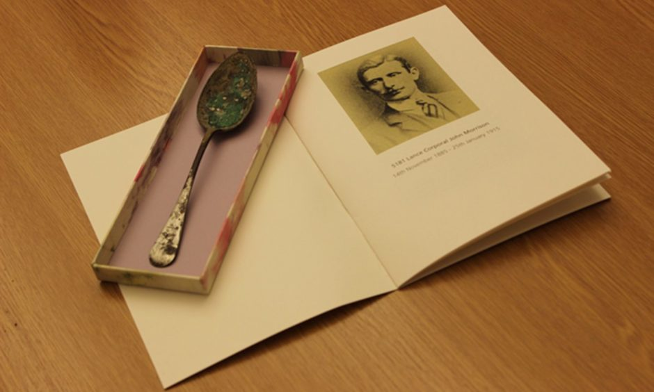 The spoon which was found with the Black Watch hero's body.