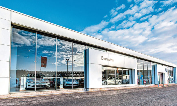 The Barnetts Volkswagen showroom at the group's headquarters on Riverside Drive, Dundee.