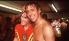 Don Masson and Kenny Dalglish celebrate after Scotland qualified for the 1978 World Cup with victory in Wales.