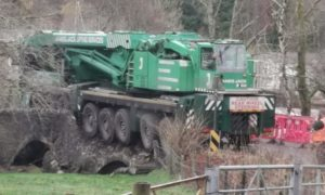 Crane crash on the A85 at Lochearnhead