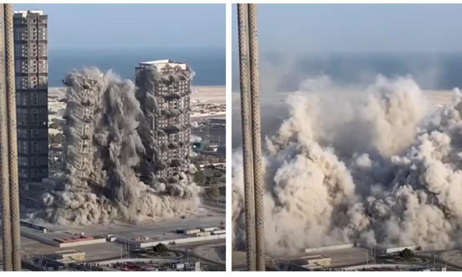 Meena Plaza in Abu Dhabi, which comprised of 144 storeys across four towers, is demolished by Safedem.