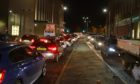 Traffic backed up on the West Marketgait in Dundee due to the incident on Dock Street.