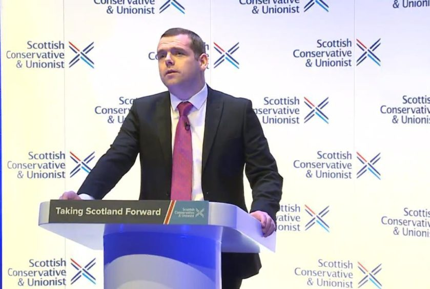 Douglas Ross addressing conference on Saturday