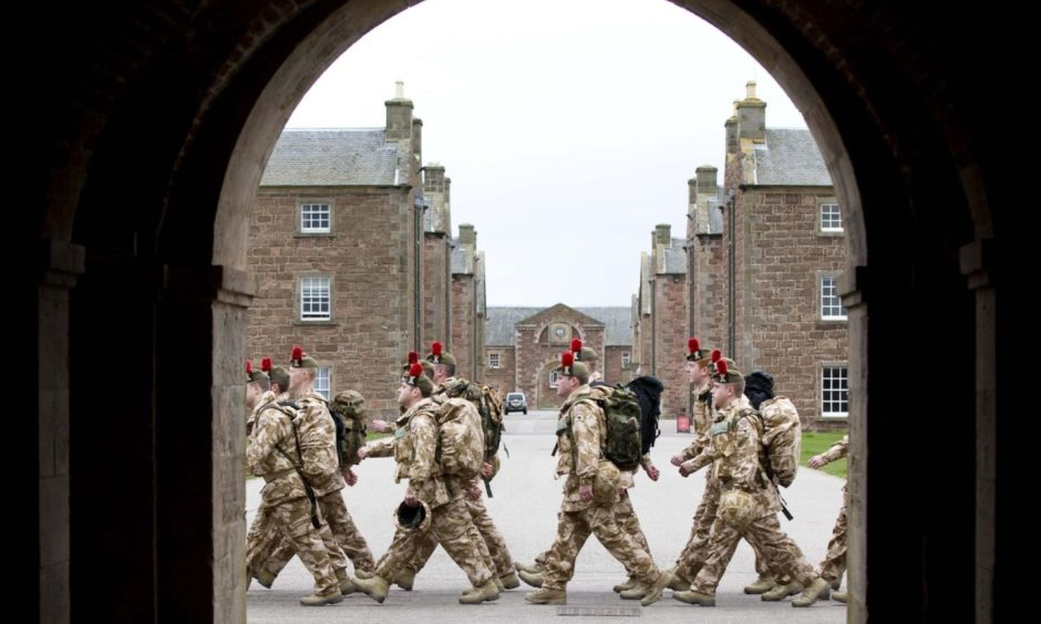 Fort George  Army Closure Black Watch march through  MOD closure threatened base Fort George at Ardersier near Inverness PIC   Trevor Martin