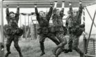 Black Watch soldiers at the Barry Buddon assault course.