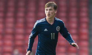Ryan Gauld in action for Scotland under-21s.