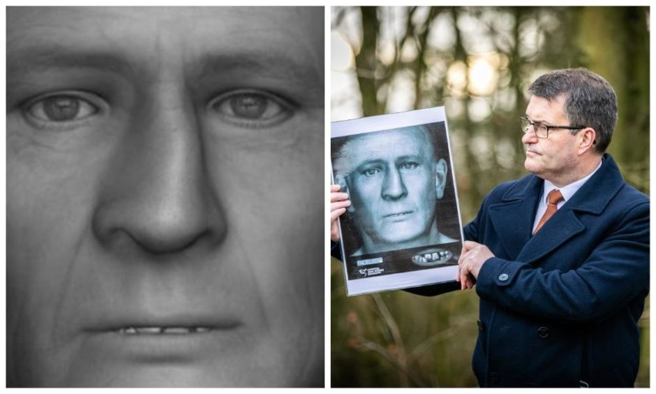 Detective Chief Inspector Kevin Houliston with the facial reconstruction of the remains found in Glenrothes.