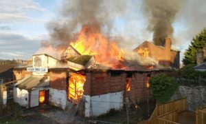 The blaze has gutted the old bingo hall.