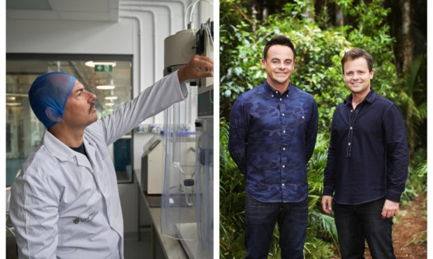 Worms used in I'm a Celebrity, hosted by Ant & Dec (right), could help a Dundee hunger project led by Dr Alberto Fiore