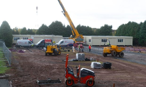 Portakabins are being used as temporary classrooms for Braeview Academy.