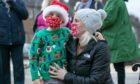 Getting into the Christmas mood - 5-year-old Aiden and Lindsay Corcoran