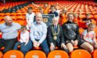 (Centre front L to R) Dundee United Community Trust chairman David Dorward alongside club owner Mark Ogren, Lord Provost Ian Borthwick and former manager Robbie Neilson.